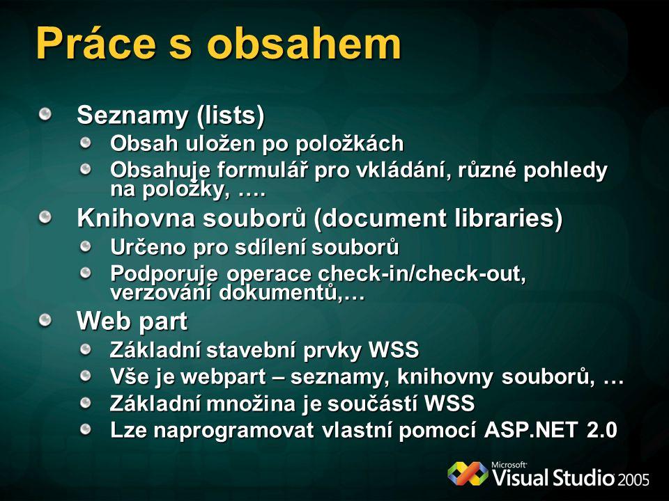 Práce s obsahem Seznamy (lists) Obsah uložen po položkách Obsahuje formulář pro vkládání, různé pohledy na položky, …. Knihovna souborů (document libr
