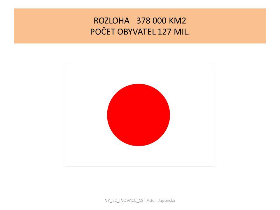 ROZLOHA 378 000 KM2 POČET OBYVATEL 127 MIL. VY_32_INOVACE_18 Asie - Japonsko