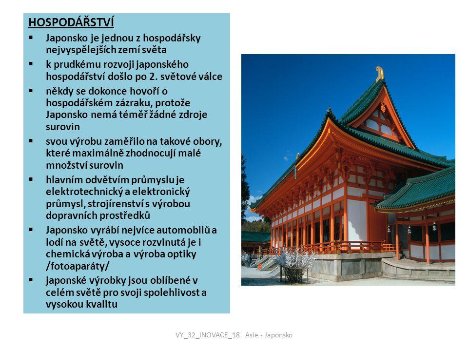 HOSPODÁŘSTVÍ  Japonsko je jednou z hospodářsky nejvyspělejších zemí světa  k prudkému rozvoji japonského hospodářství došlo po 2. světové válce  ně