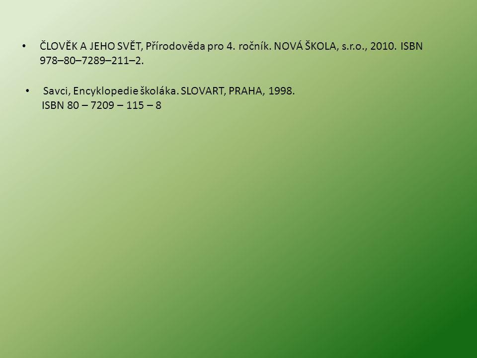 ČLOVĚK A JEHO SVĚT, Přírodověda pro 4. ročník. NOVÁ ŠKOLA, s.r.o., 2010. ISBN 978–80–7289–211–2. Savci, Encyklopedie školáka. SLOVART, PRAHA, 1998. IS