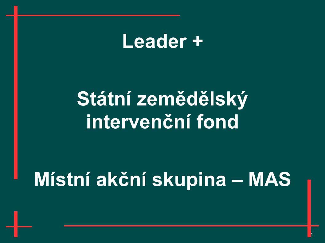 1 Leader + Státní zemědělský intervenční fond Místní akční skupina – MAS