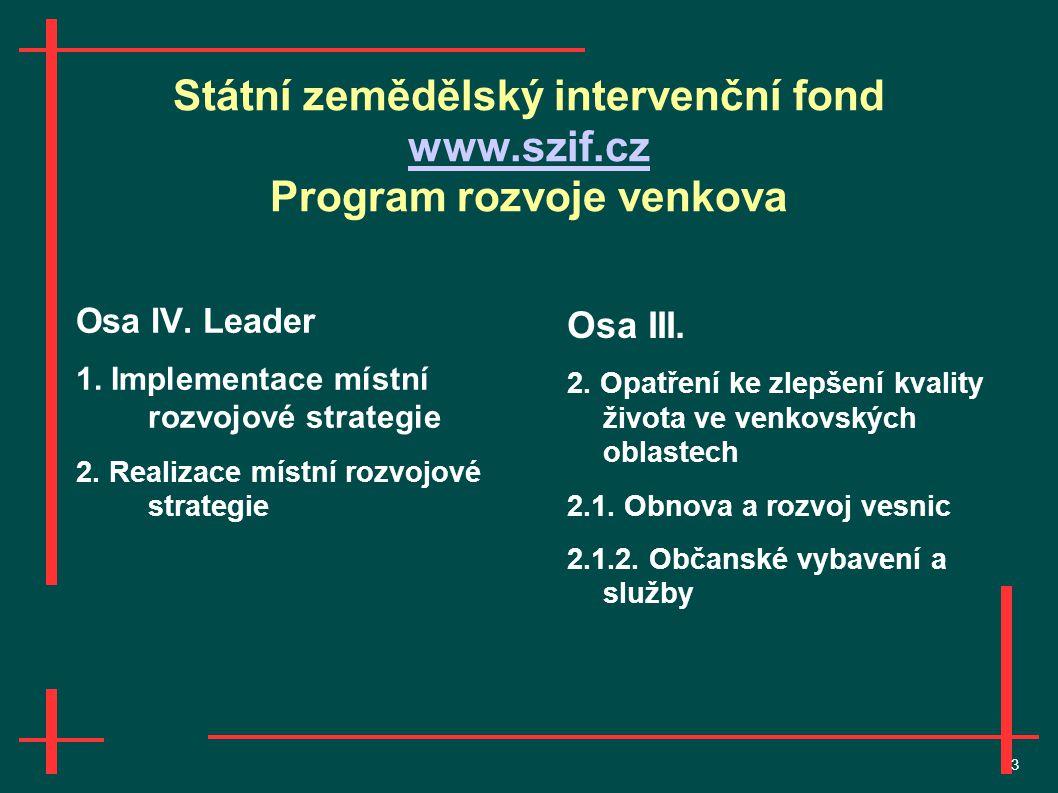 3 Státní zemědělský intervenční fond www.szif.cz Program rozvoje venkova www.szif.cz Osa IV.