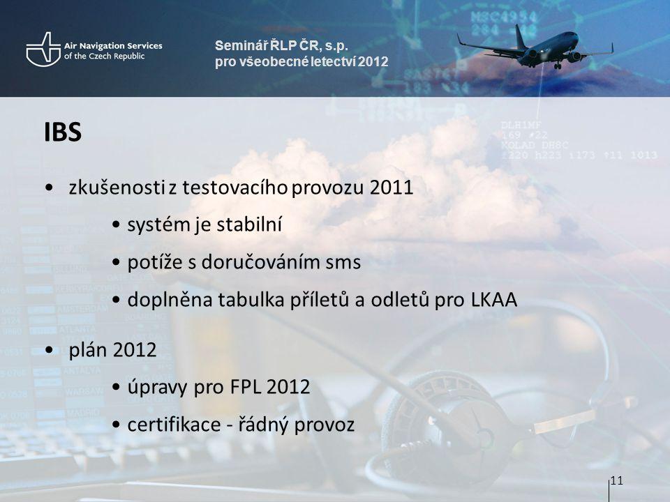 Seminář ŘLP ČR, s.p. pro všeobecné letectví 2012 IBS zkušenosti z testovacího provozu 2011 systém je stabilní potíže s doručováním sms doplněna tabulk