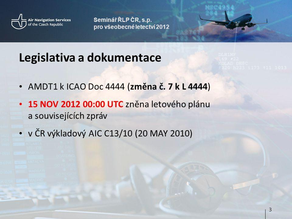 Seminář ŘLP ČR, s.p. pro všeobecné letectví 2012 Legislativa a dokumentace AMDT1 k ICAO Doc 4444 (změna č. 7 k L 4444) 15 NOV 2012 00:00 UTC zněna let
