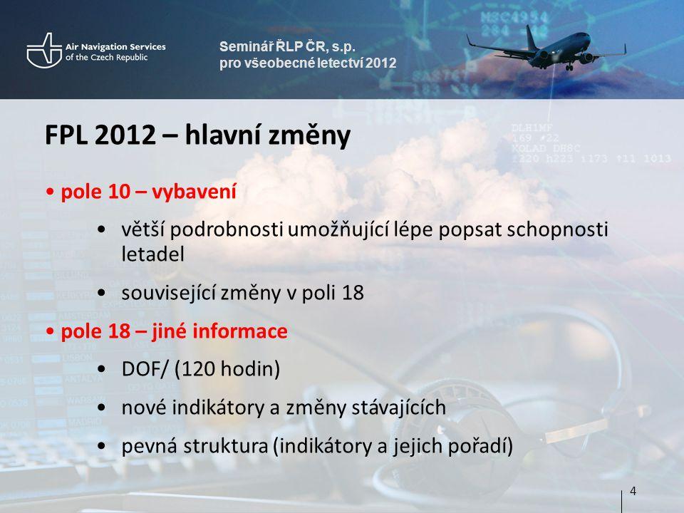 Seminář ŘLP ČR, s.p. pro všeobecné letectví 2012 FPL 2012 – hlavní změny pole 10 – vybavení větší podrobnosti umožňující lépe popsat schopnosti letade