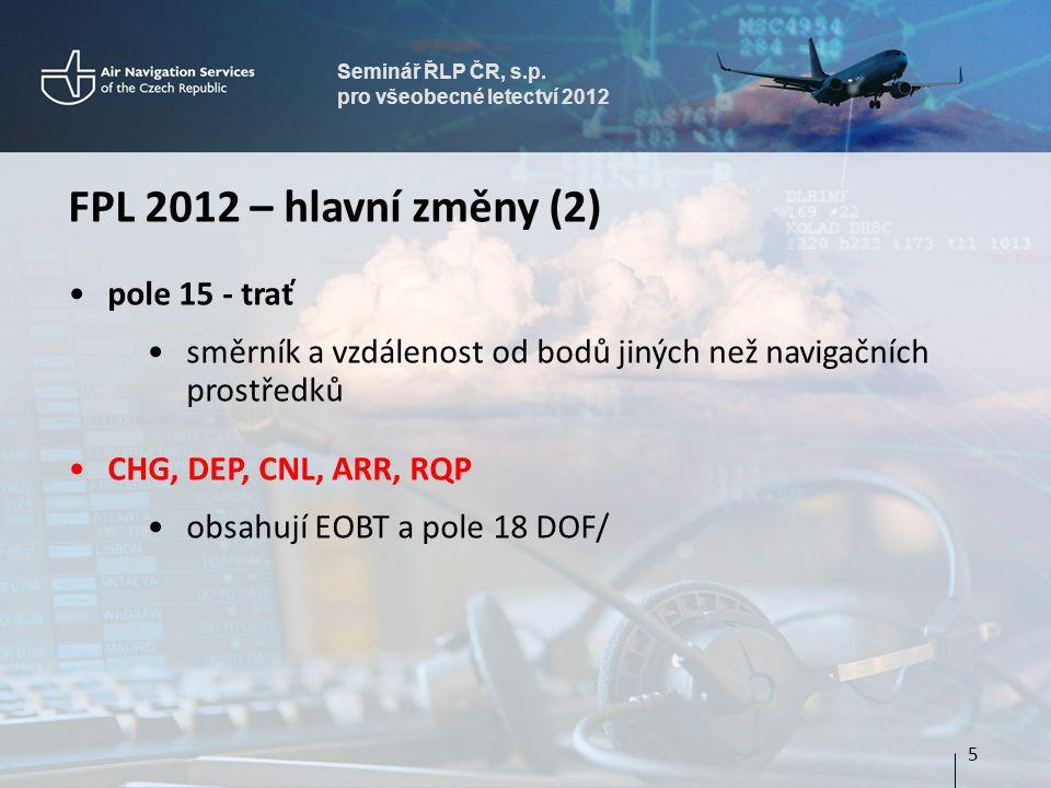 Seminář ŘLP ČR, s.p. pro všeobecné letectví 2012 FPL 2012 – hlavní změny (2) pole 15 - trať směrník a vzdálenost od bodů jiných než navigačních prostř