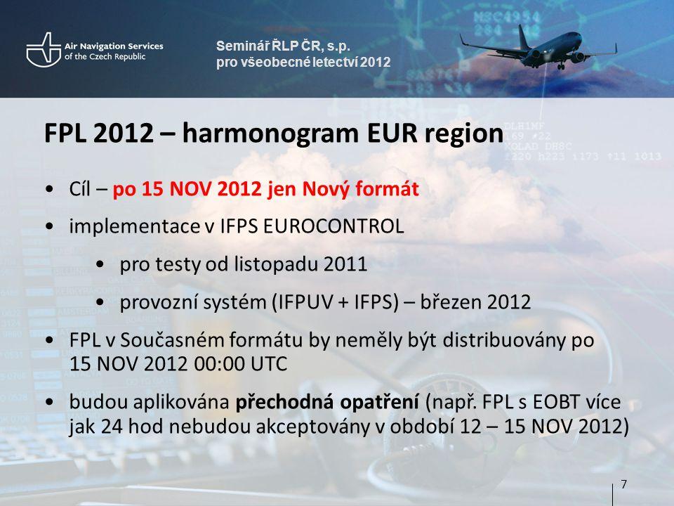 Seminář ŘLP ČR, s.p. pro všeobecné letectví 2012 FPL 2012 – harmonogram EUR region Cíl – po 15 NOV 2012 jen Nový formát implementace v IFPS EUROCONTRO