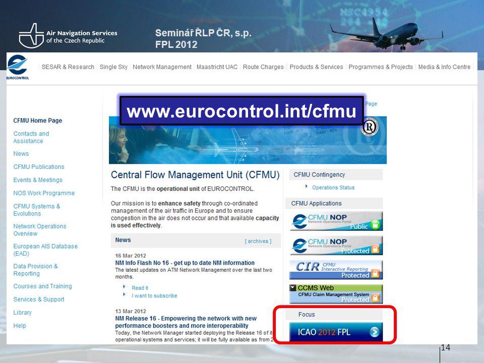Seminář ŘLP ČR, s.p. FPL 2012 14 www.eurocontrol.int/cfmu