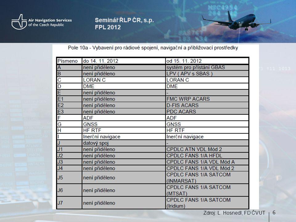 Seminář ŘLP ČR, s.p. FPL 2012 6 Zdroj: L. Hosnedl, FD ČVUT