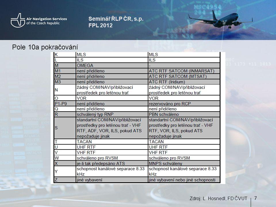 Seminář ŘLP ČR, s.p. FPL 2012 7 Zdroj: L. Hosnedl, FD ČVUT Pole 10a pokračování