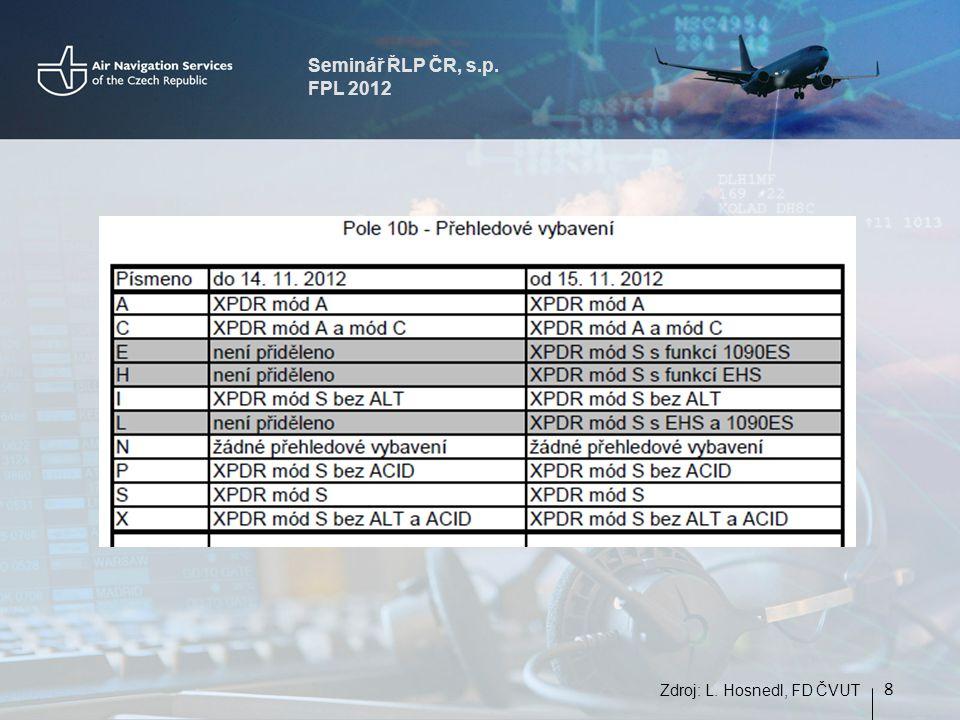 Seminář ŘLP ČR, s.p. FPL 2012 8 Zdroj: L. Hosnedl, FD ČVUT