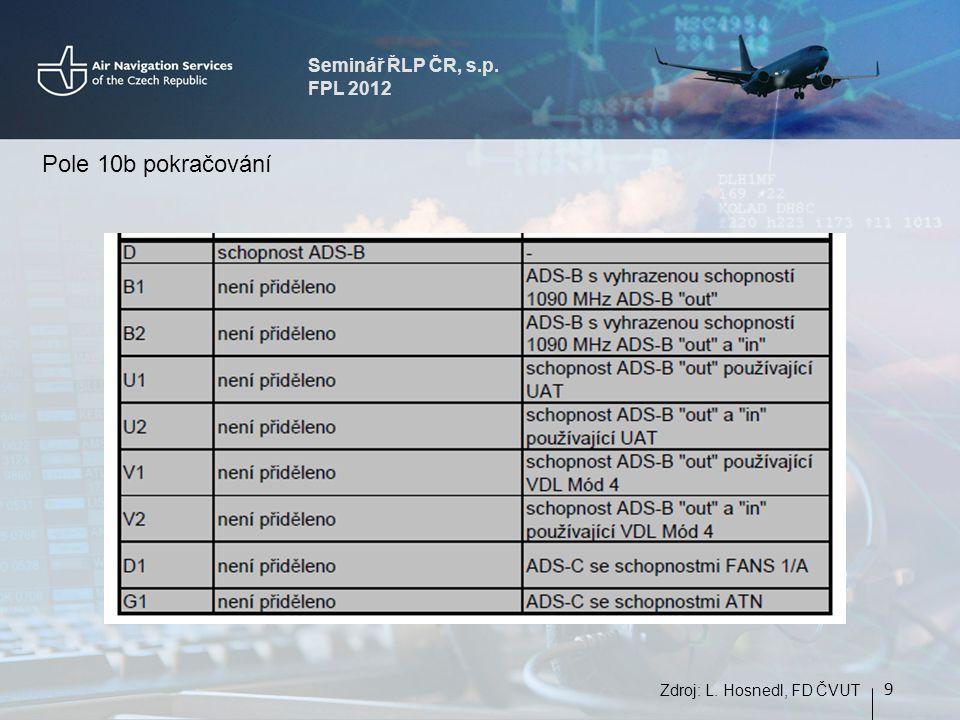 Seminář ŘLP ČR, s.p. FPL 2012 9 Zdroj: L. Hosnedl, FD ČVUT Pole 10b pokračování
