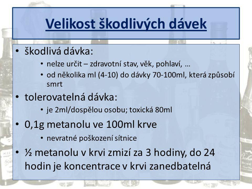 Velikost škodlivých dávek škodlivá dávka: nelze určit – zdravotní stav, věk, pohlaví, … od několika ml (4-10) do dávky 70-100ml, která způsobí smrt to