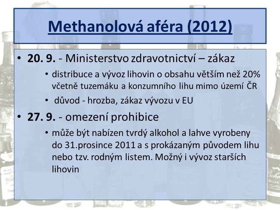 Methanolová aféra (2012) 20. 9. - Ministerstvo zdravotnictví – zákaz distribuce a vývoz lihovin o obsahu větším než 20% včetně tuzemáku a konzumního l