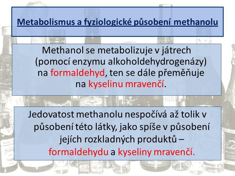 Metabolismus a fyziologické působení methanolu Methanol se metabolizuje v játrech (pomocí enzymu alkoholdehydrogenázy) na formaldehyd, ten se dále pře