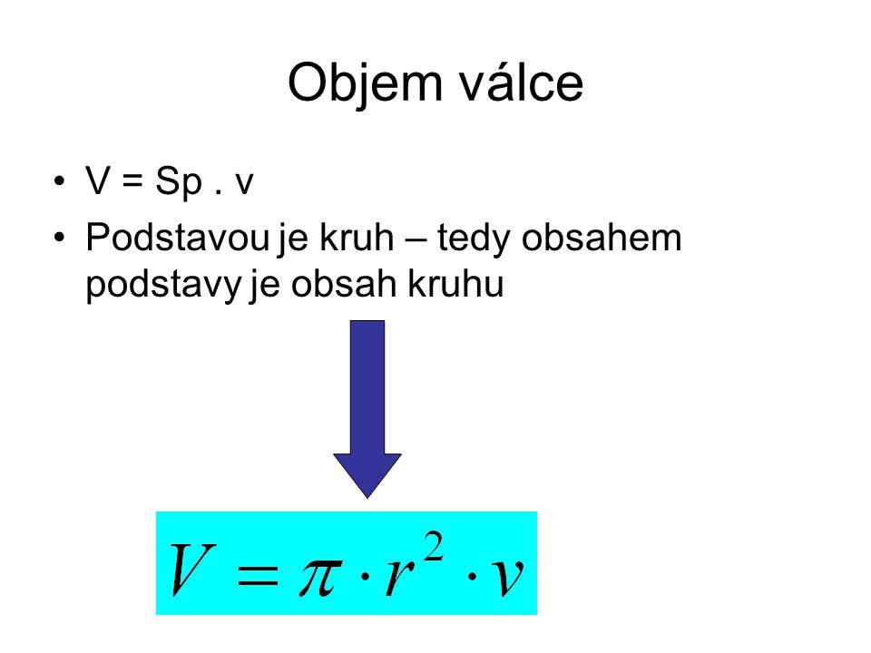 Objem válce V = Sp. v Podstavou je kruh – tedy obsahem podstavy je obsah kruhu