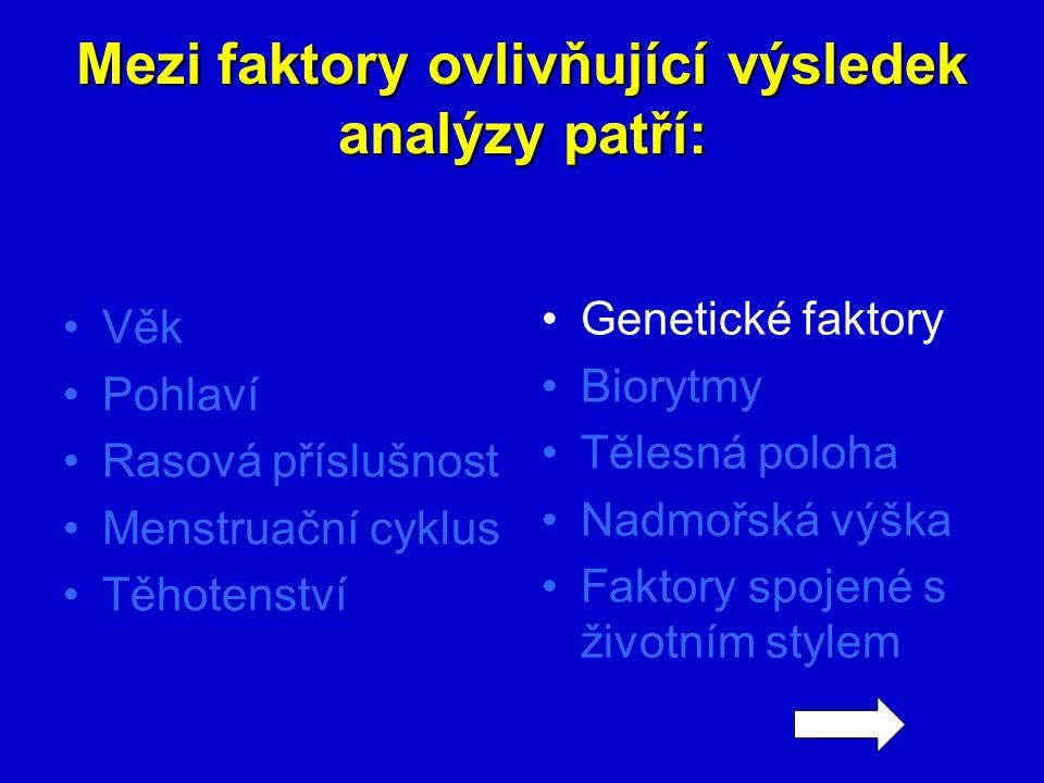 Mezi faktory ovlivňující výsledek analýzy patří: Věk Pohlaví Rasová příslušnost Menstruační cyklus Těhotenství Genetické faktory Biorytmy Tělesná polo