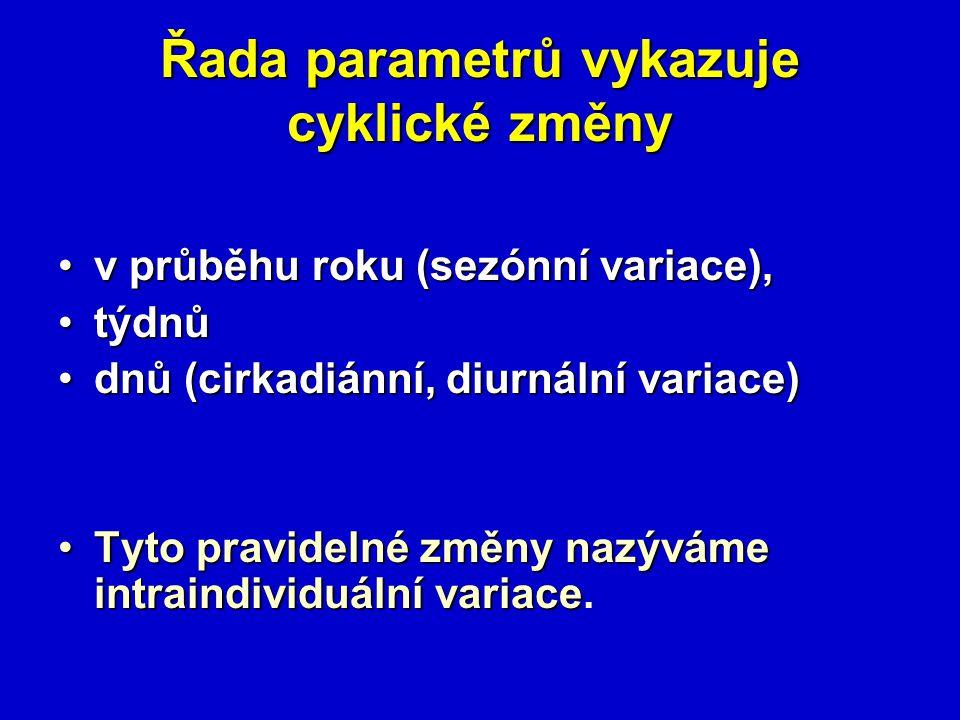 Řada parametrů vykazuje cyklické změny v průběhu roku (sezónní variace),v průběhu roku (sezónní variace), týdnůtýdnů dnů (cirkadiánní, diurnální varia