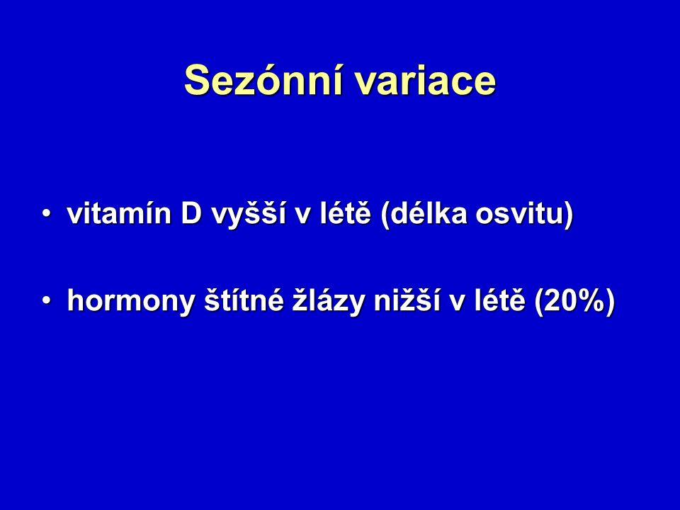 Sezónní variace vitamín D vyšší v létě (délka osvitu)vitamín D vyšší v létě (délka osvitu) hormony štítné žlázy nižší v létě (20%)hormony štítné žlázy