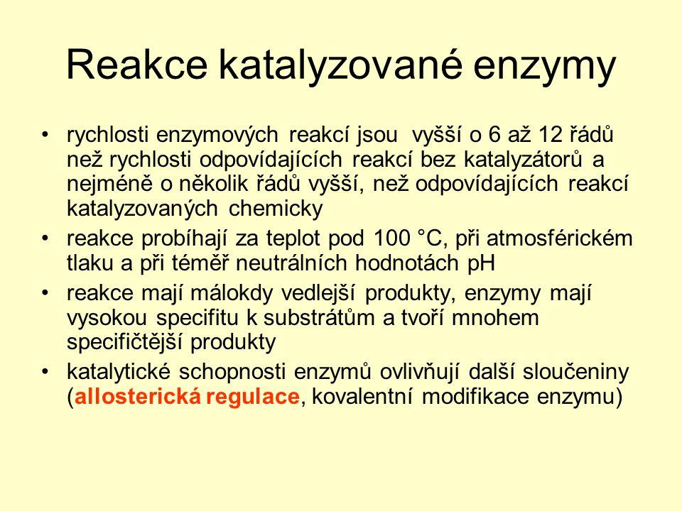 Reakce katalyzované enzymy rychlosti enzymových reakcí jsou vyšší o 6 až 12 řádů než rychlosti odpovídajících reakcí bez katalyzátorů a nejméně o něko