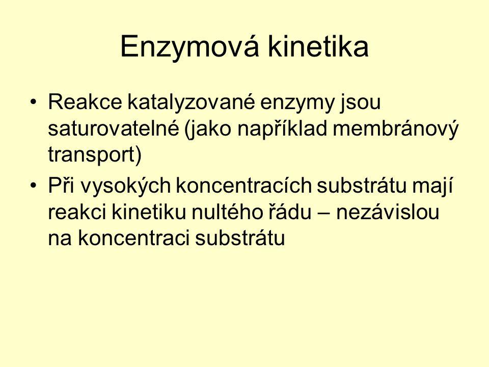 Reakce katalyzované enzymy jsou saturovatelné (jako například membránový transport) Při vysokých koncentracích substrátu mají reakci kinetiku nultého