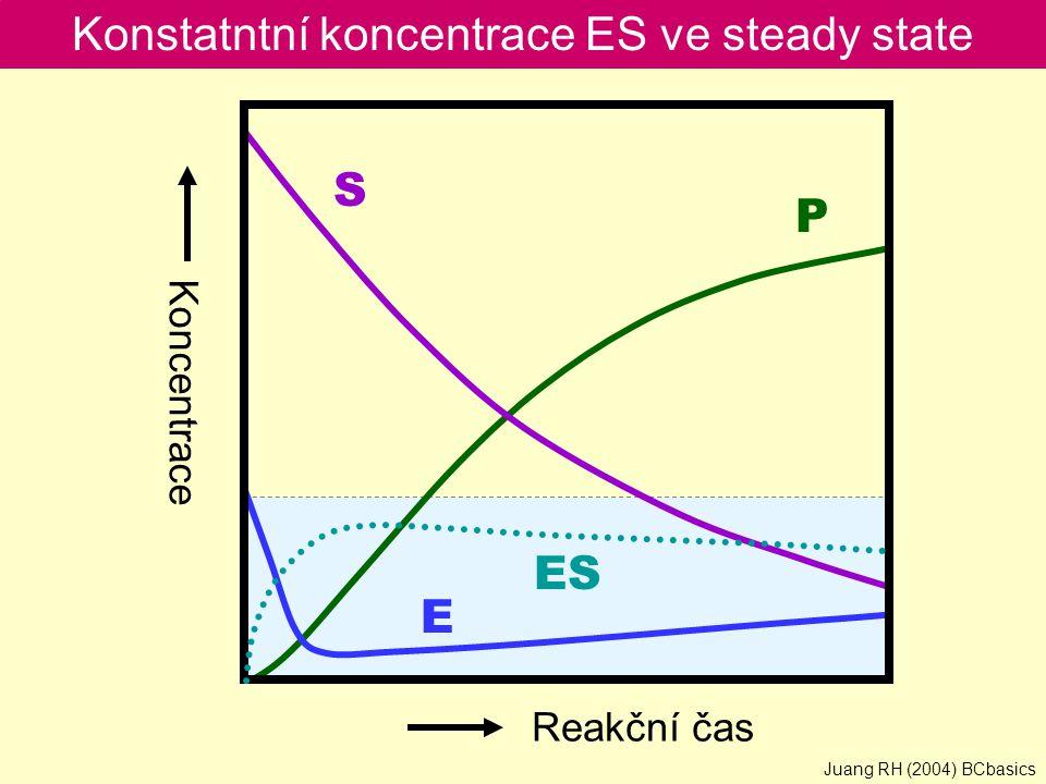 Konstatntní koncentrace ES ve steady state S P E ES Reakční čas Koncentrace Juang RH (2004) BCbasics