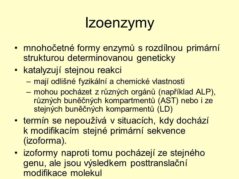 Izoenzymy mnohočetné formy enzymů s rozdílnou primární strukturou determinovanou geneticky katalyzují stejnou reakci –mají odlišné fyzikální a chemick