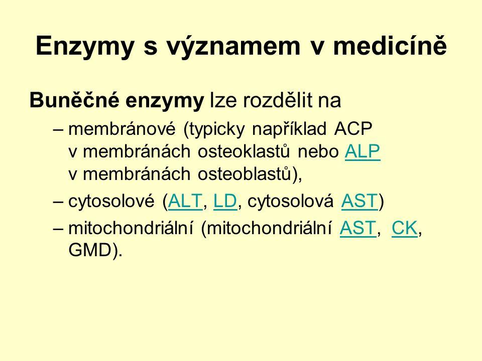 Enzymy s významem v medicíně Buněčné enzymy lze rozdělit na –membránové (typicky například ACP v membránách osteoklastů nebo ALP v membránách osteobla