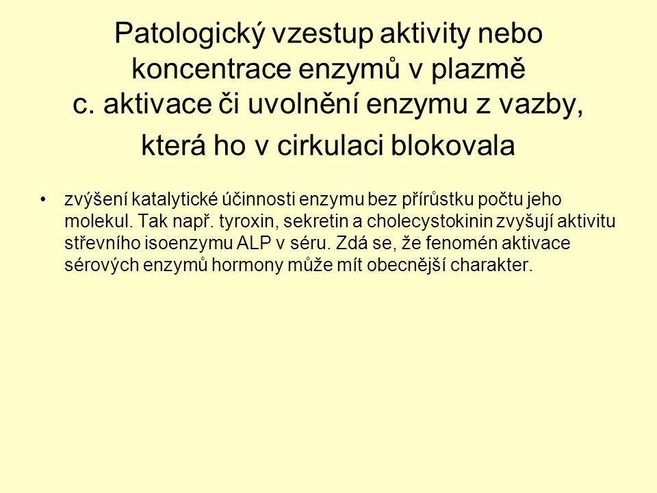 Patologický vzestup aktivity nebo koncentrace enzymů v plazmě c. aktivace či uvolnění enzymu z vazby, která ho v cirkulaci blokovala zvýšení katalytic