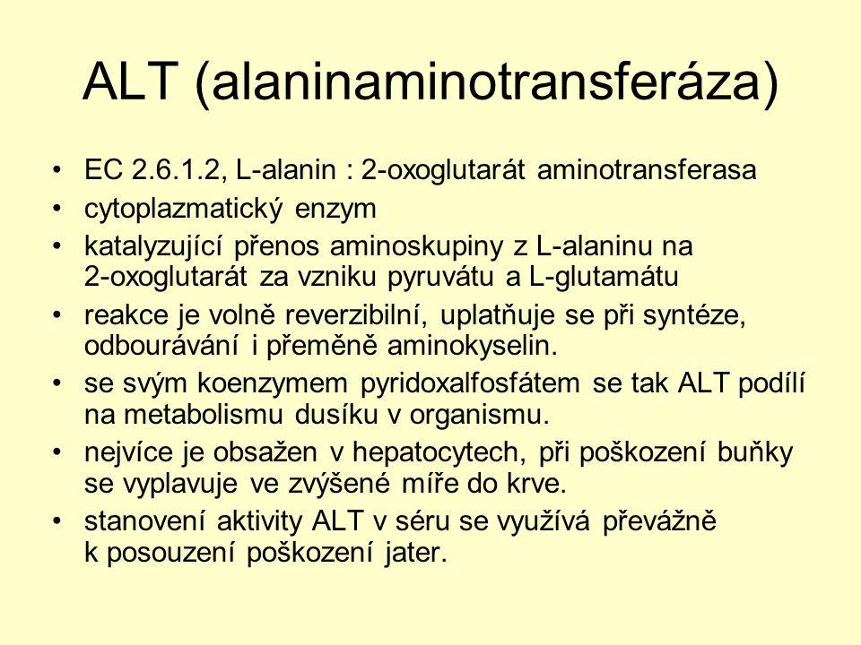 ALT (alaninaminotransferáza) EC 2.6.1.2, L ‑ alanin : 2 ‑ oxoglutarát aminotransferasa cytoplazmatický enzym katalyzující přenos aminoskupiny z L ‑ al