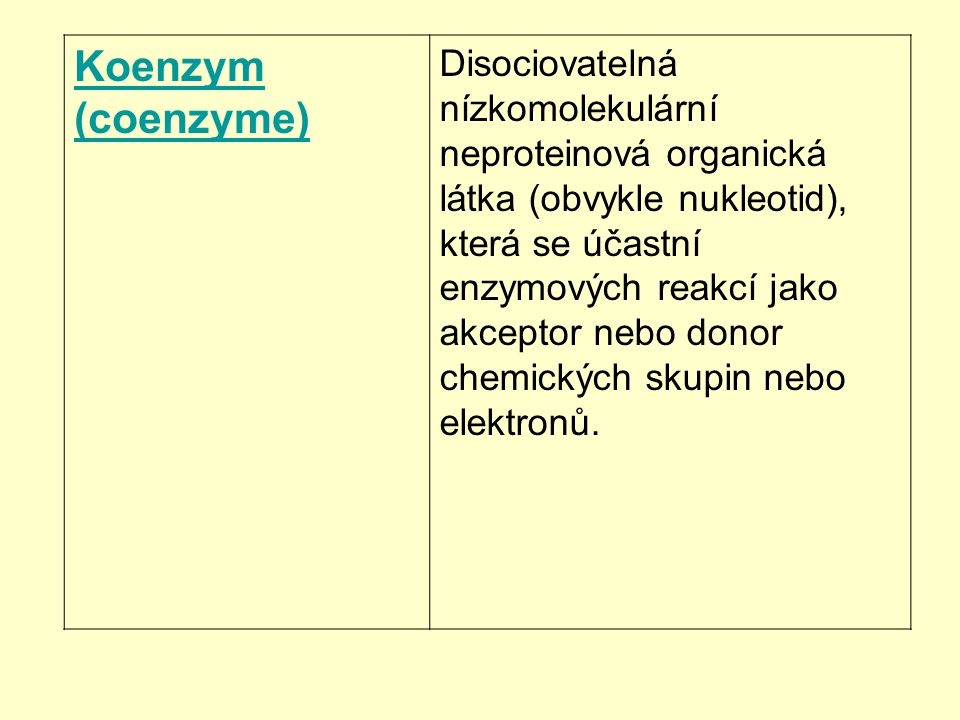 Koenzym (coenzyme) Disociovatelná nízkomolekulární neproteinová organická látka (obvykle nukleotid), která se účastní enzymových reakcí jako akceptor