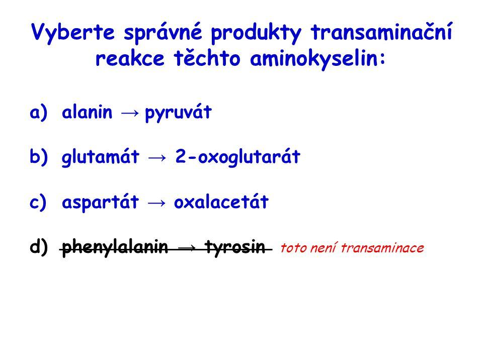 Vyberte správné produkty transaminační reakce těchto aminokyselin: a)alanin → pyruvát b)glutamát → 2-oxoglutarát c)aspartát → oxalacetát d)phenylalani