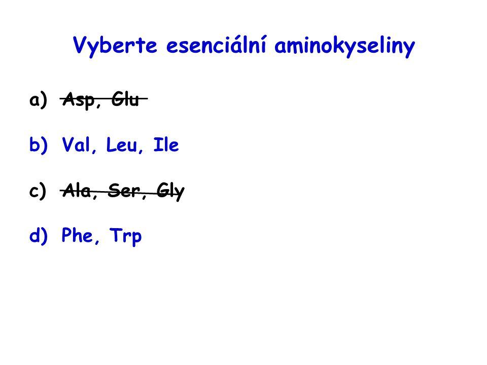 """Esenciální aminokyseliny 1)rozvětvené: Val, Leu, Ile 2)bazické: His, Arg, Lys 3)aromatické: Phe ( → Tyr), Trp 4)obsahující síru: Met ( → Cys) 5)ostatní: Thr """"10"""
