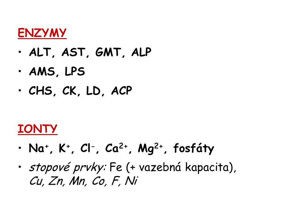ENZYMY ALT, AST, GMT, ALP AMS, LPS CHS, CK, LD, ACP IONTY Na +, K +, Cl -, Ca 2+, Mg 2+, fosfáty stopové prvky: Fe (+ vazebná kapacita), Cu, Zn, Mn, C