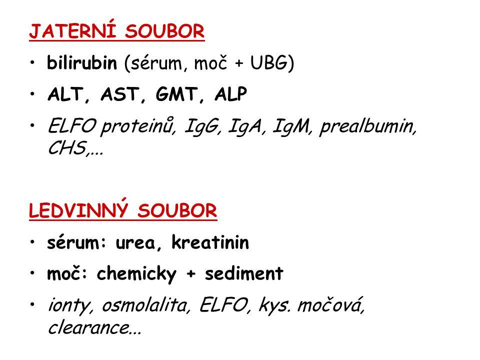 JATERNÍ SOUBOR bilirubin (sérum, moč + UBG) ALT, AST, GMT, ALP ELFO proteinů, IgG, IgA, IgM, prealbumin, CHS,... LEDVINNÝ SOUBOR sérum: urea, kreatini