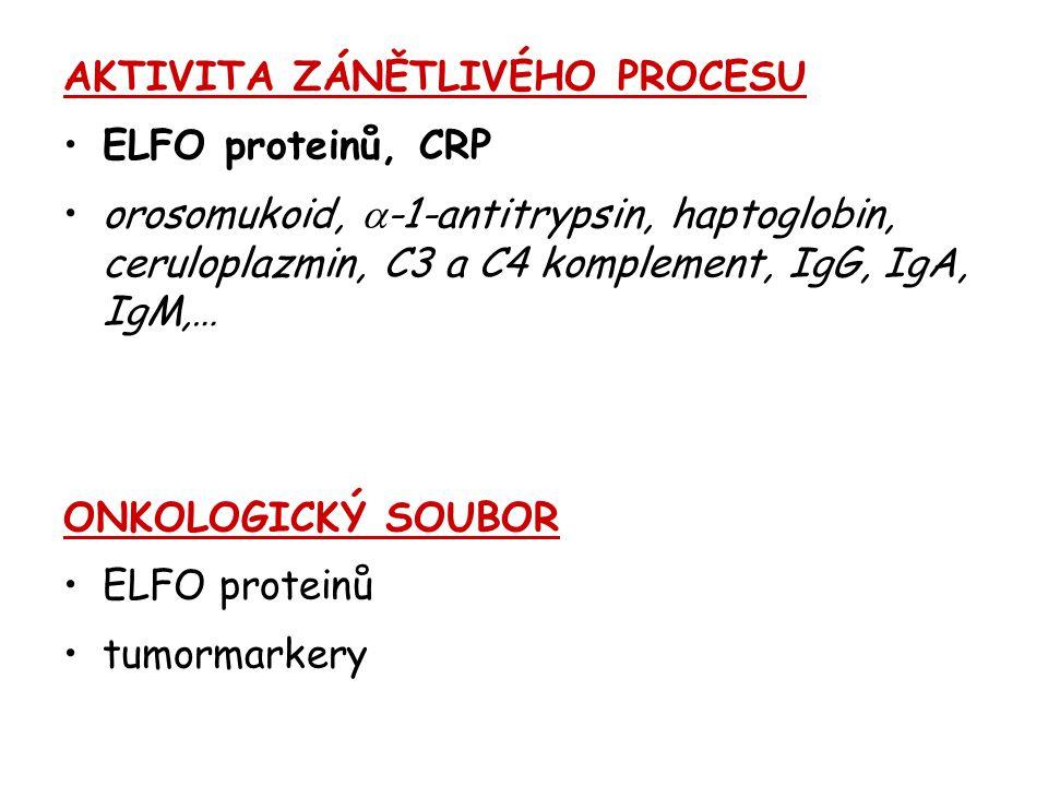AKTIVITA ZÁNĚTLIVÉHO PROCESU ELFO proteinů, CRP orosomukoid,  -1-antitrypsin, haptoglobin, ceruloplazmin, C3 a C4 komplement, IgG, IgA, IgM,… ONKOLOG
