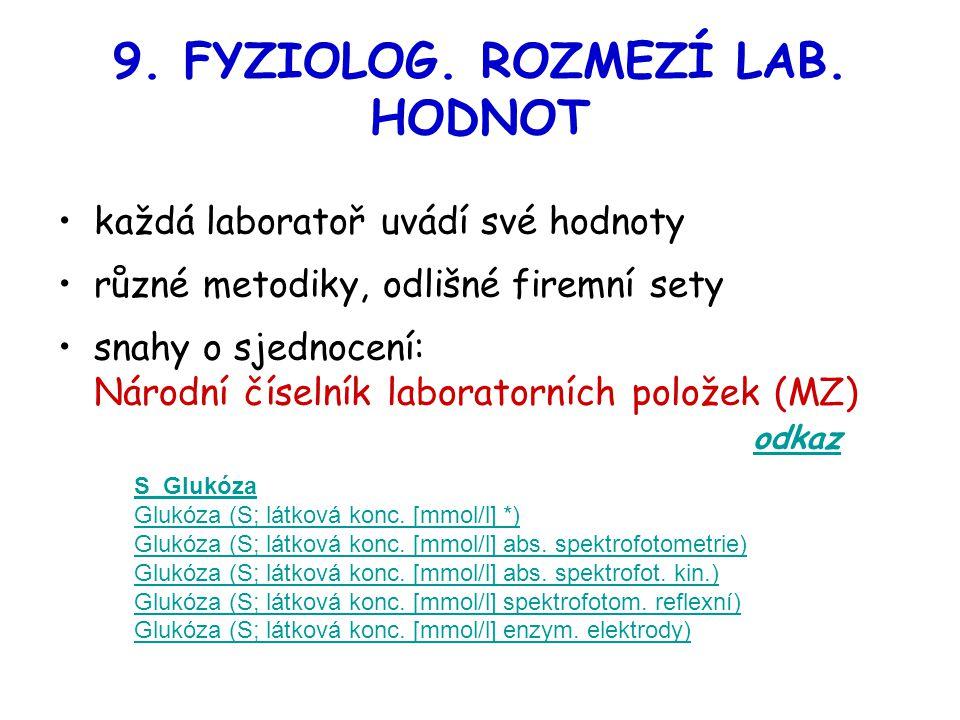 9. FYZIOLOG. ROZMEZÍ LAB. HODNOT každá laboratoř uvádí své hodnoty různé metodiky, odlišné firemní sety snahy o sjednocení: Národní číselník laborator