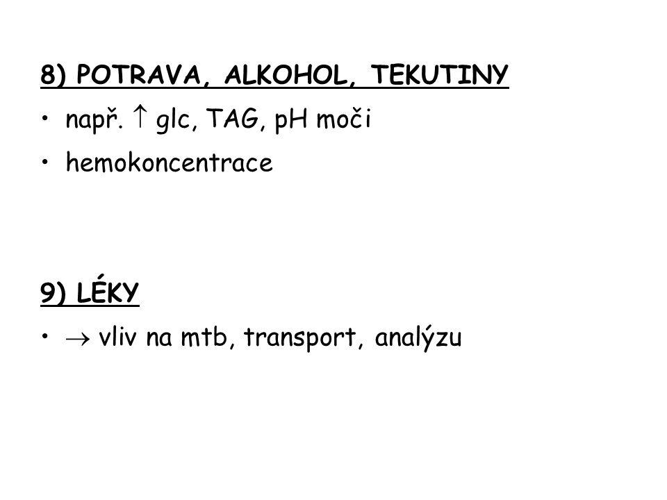 8) POTRAVA, ALKOHOL, TEKUTINY např.  glc, TAG, pH moči hemokoncentrace 9) LÉKY  vliv na mtb, transport, analýzu