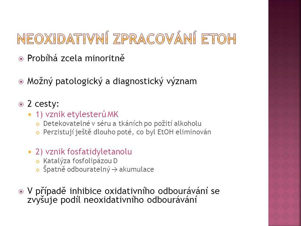  Probíhá zcela minoritně  Možný patologický a diagnostický význam  2 cesty:  1) vznik etylesterů MK Detekovatelné v séru a tkáních po požití alkoh