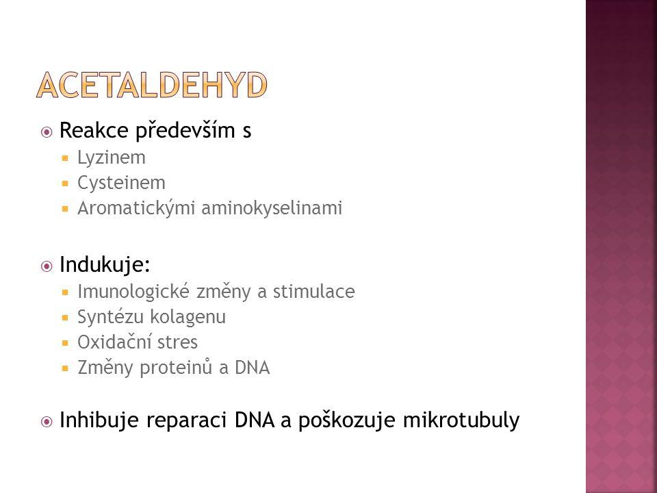  Reakce především s  Lyzinem  Cysteinem  Aromatickými aminokyselinami  Indukuje:  Imunologické změny a stimulace  Syntézu kolagenu  Oxidační s