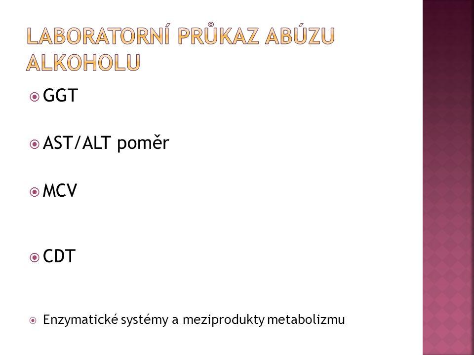  GGT  AST/ALT poměr  MCV  CDT  Enzymatické systémy a meziprodukty metabolizmu