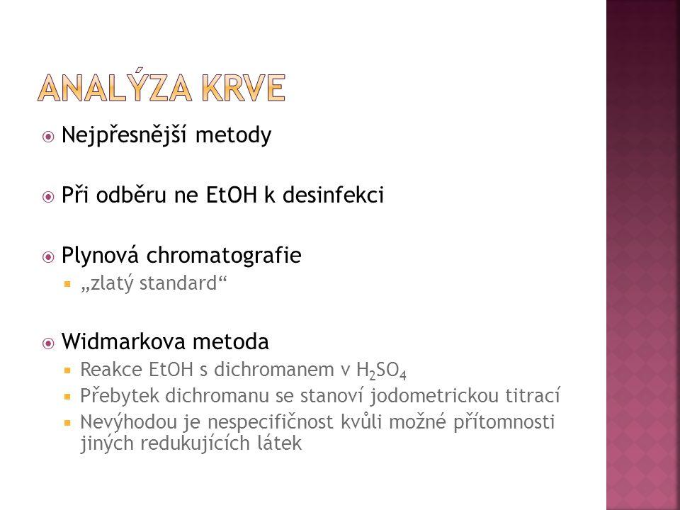 """ Nejpřesnější metody  Při odběru ne EtOH k desinfekci  Plynová chromatografie  """"zlatý standard""""  Widmarkova metoda  Reakce EtOH s dichromanem v"""