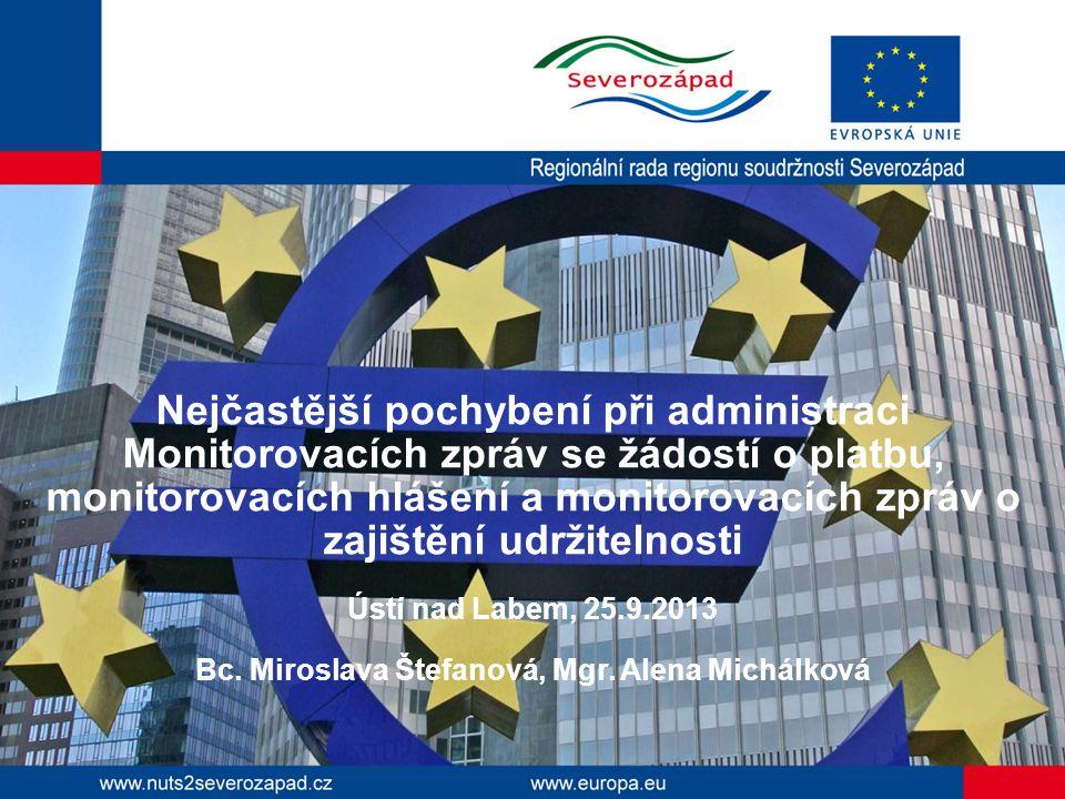 Nejčastější pochybení při administraci Monitorovacích zpráv se žádostí o platbu, monitorovacích hlášení a monitorovacích zpráv o zajištění udržitelnosti Ústí nad Labem, 25.9.2013 Bc.