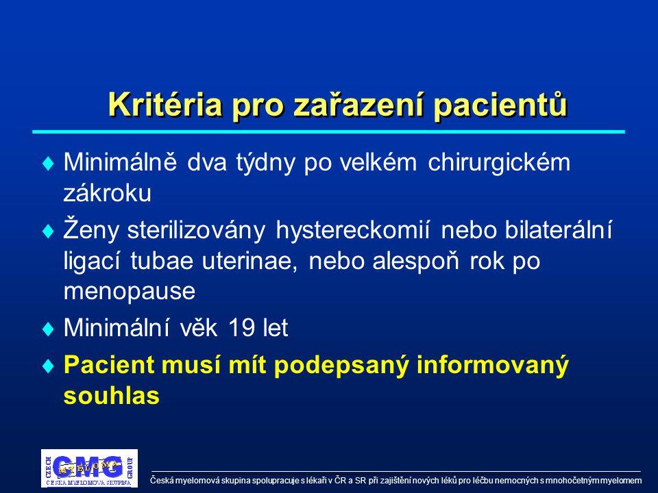 Česká myelomová skupina spolupracuje s lékaři v ČR a SR při zajištění nových léků pro léčbu nemocných s mnohočetným myelomem Kritéria pro zařazení pacientů  Minimálně dva týdny po velkém chirurgickém zákroku  Ženy sterilizovány hystereckomií nebo bilaterální ligací tubae uterinae, nebo alespoň rok po menopause  Minimální věk 19 let  Pacient musí mít podepsaný informovaný souhlas