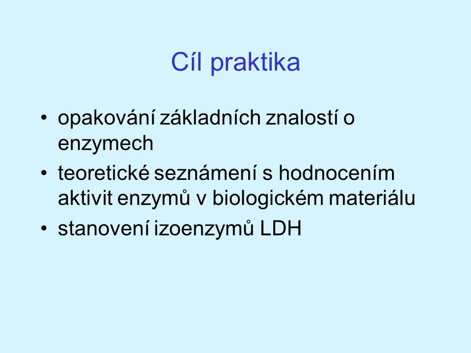 Cíl praktika opakování základních znalostí o enzymech teoretické seznámení s hodnocením aktivit enzymů v biologickém materiálu stanovení izoenzymů LDH