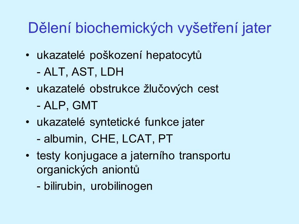 Dělení biochemických vyšetření jater ukazatelé poškození hepatocytů - ALT, AST, LDH ukazatelé obstrukce žlučových cest - ALP, GMT ukazatelé syntetické