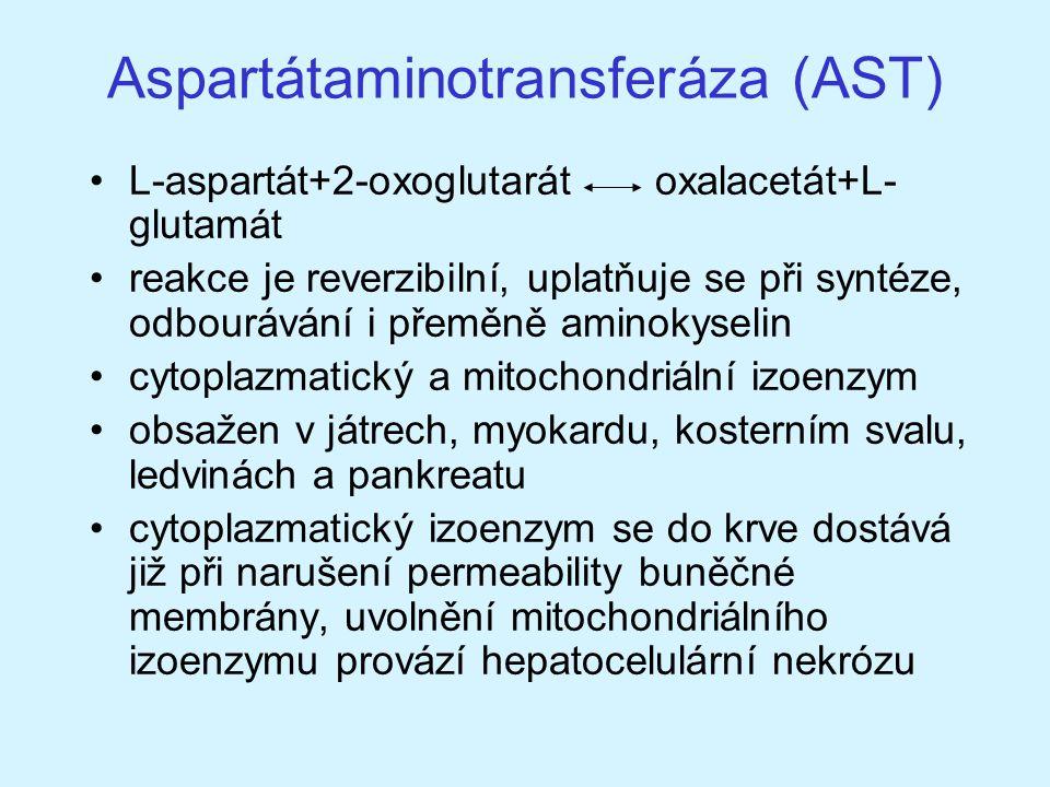 Aspartátaminotransferáza (AST) L-aspartát+2-oxoglutarát oxalacetát+L- glutamát reakce je reverzibilní, uplatňuje se při syntéze, odbourávání i přeměně