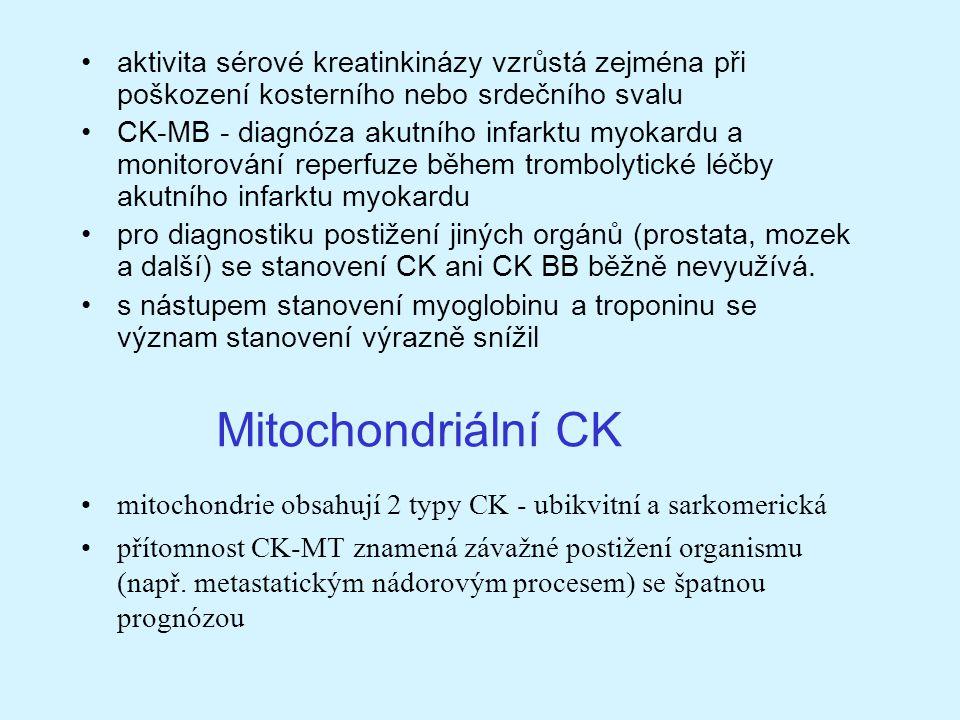 Mitochondriální CK aktivita sérové kreatinkinázy vzrůstá zejména při poškození kosterního nebo srdečního svalu CK-MB - diagnóza akutního infarktu myok