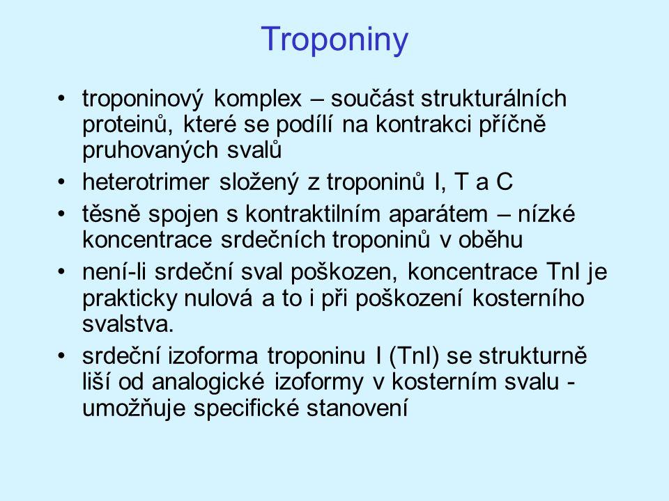 Troponiny troponinový komplex – součást strukturálních proteinů, které se podílí na kontrakci příčně pruhovaných svalů heterotrimer složený z troponin