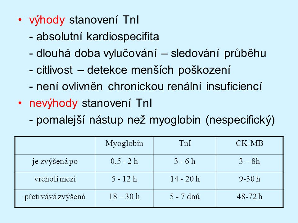 výhody stanovení TnI - absolutní kardiospecifita - dlouhá doba vylučování – sledování průběhu - citlivost – detekce menších poškození - není ovlivněn